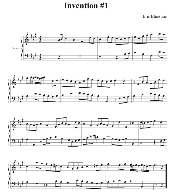 Invention in A major (up to the modulation to E) by Eric Bluestine